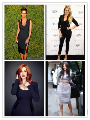 Curvy Style Icons mentioned clockwise, left to right - Halle Berry, photo courtesy of  www.eonline.com; Khole Kardashian, photo courtesy of xxx; Christina Hendricks, photo courtesy of xxx; Kim Kardashian photo courtesy of xxx.