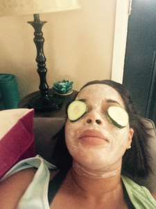 Added cucumbers to eyes.If you did not know, cucumbers have great benefits as well. They revitalize the skin, reduce water retention, fine lines, wrinkles, and blemishes just to name a few of the benefits that come from cucumbers for the skin.