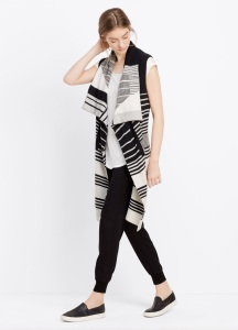 VINCE - Graphic Stripe Asymmetric Drape Vest